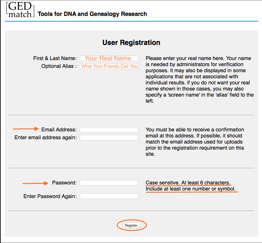 GEDmatch registration page