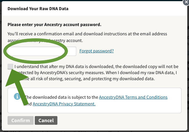 AncestryDNA raw data download enter password