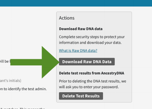 AncestryDNA raw data download step 4