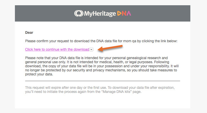 my Heritage DNA raw data download step 7