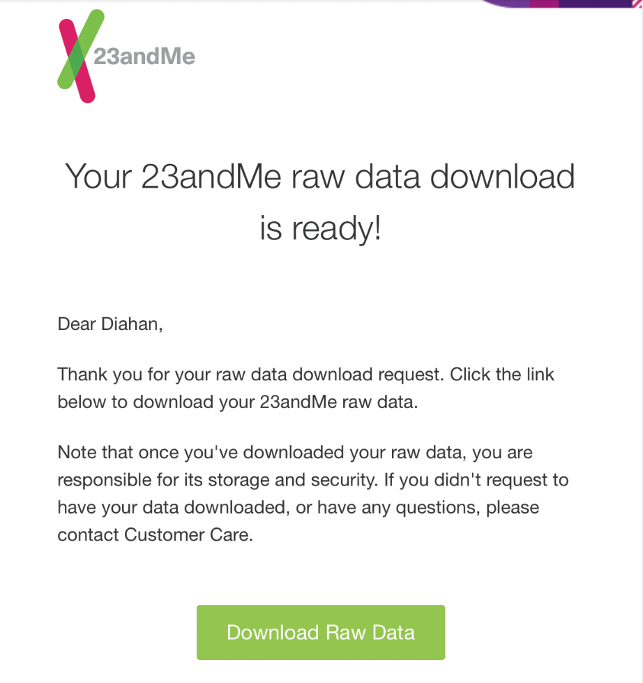 23andMe raw data download email link