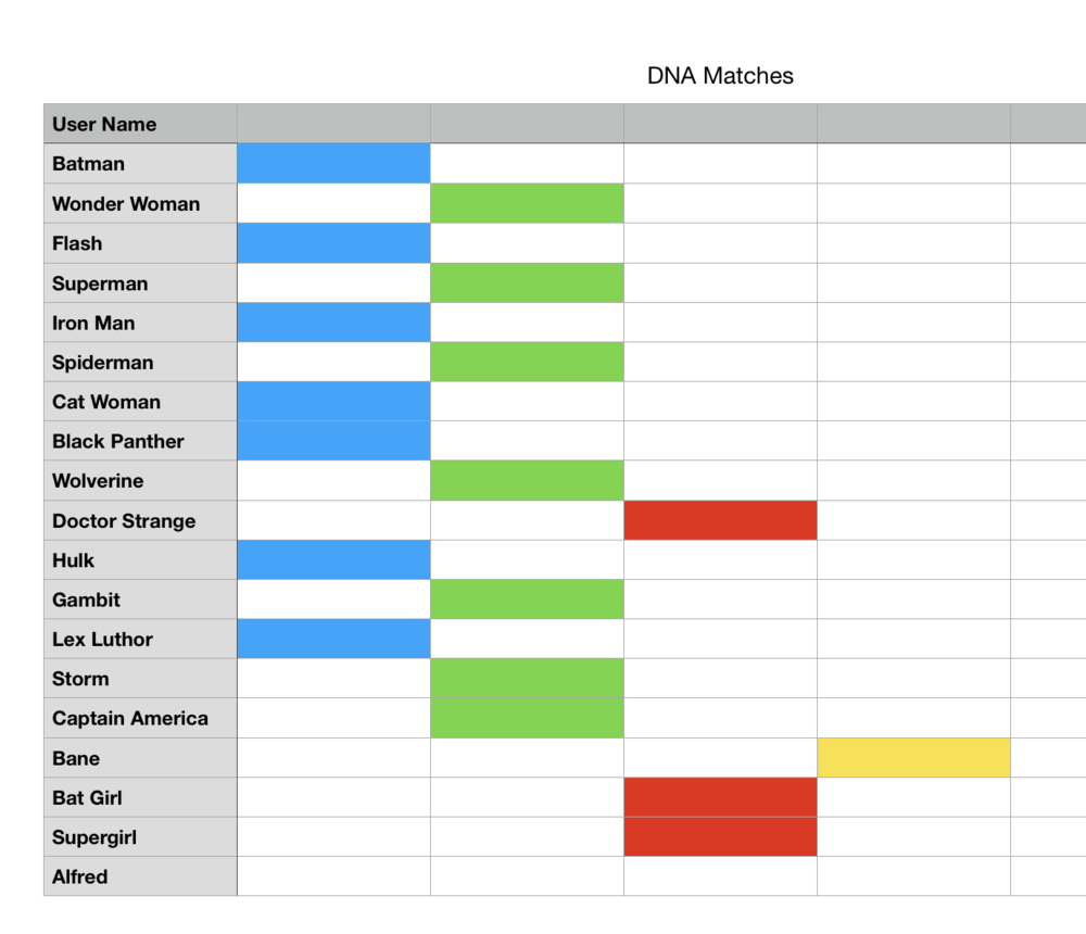 DNA match list with four groups assigned a color.
