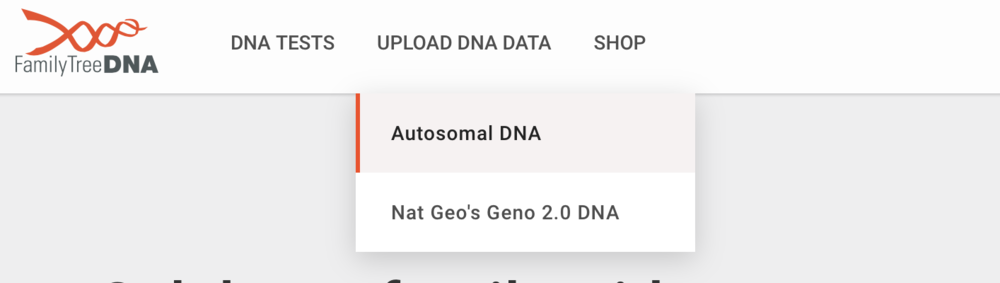 Family Tree DNA Home Page Drop Down Options