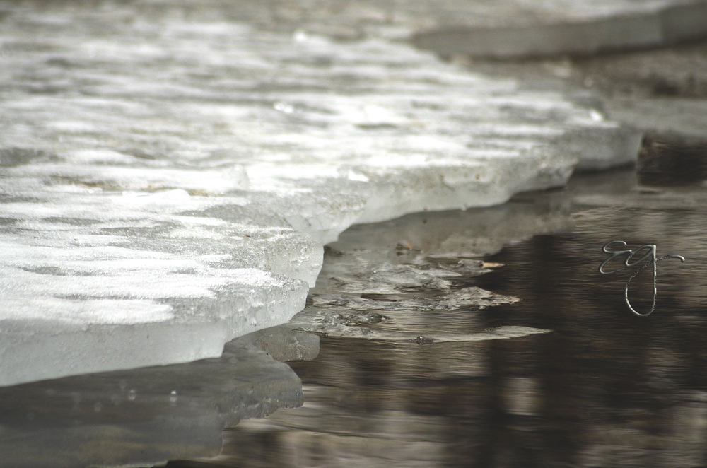 Partially frozen canal