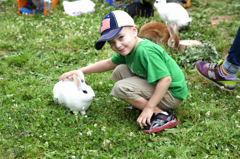 Matthew with a bunny.