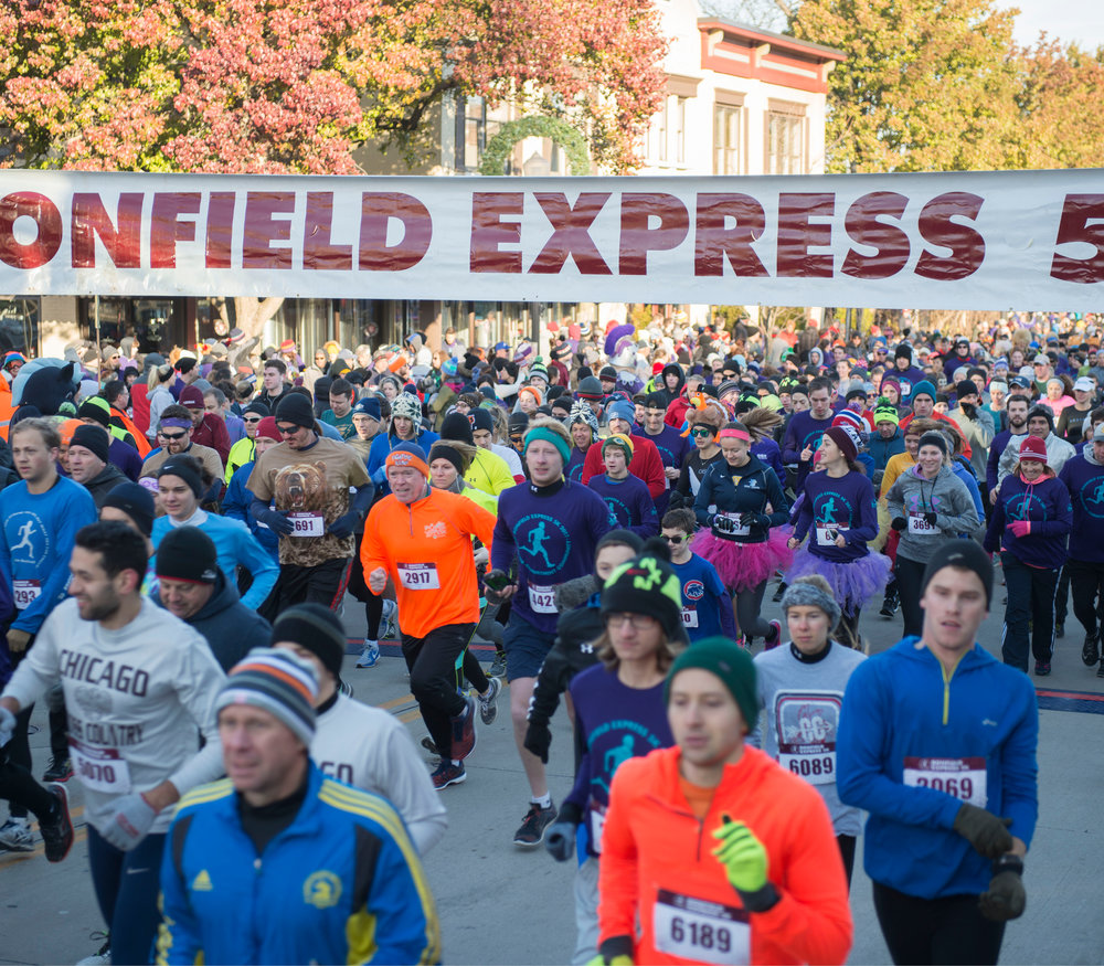 A Downers Grove tradition, the Bonfield Express 5K is held every Thanksgiving morning. The USATF-certified course takes runners and walkers through the downtown as well as scenic side streets.