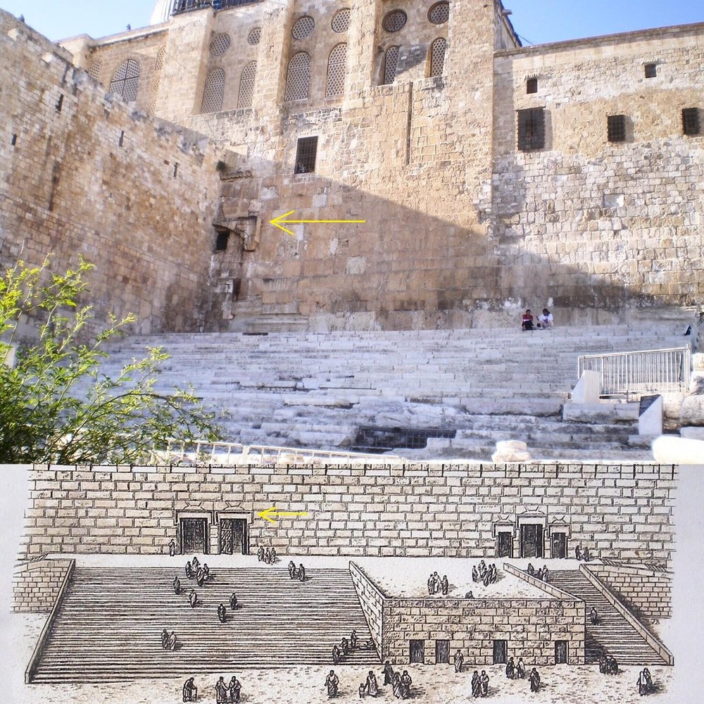 Top: (Author photo) the building that covers the double gate is a crusader structure. bottom: rendition found at the jerusalem ARCHAEOLOGICAL park in Jerusalem