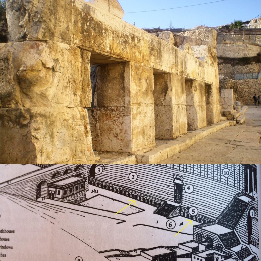 Top: (author photo) small shops that would sell doves and change money. Bottom: (photo from Leen Ritmeyer) Shows location of small shops along western wall.