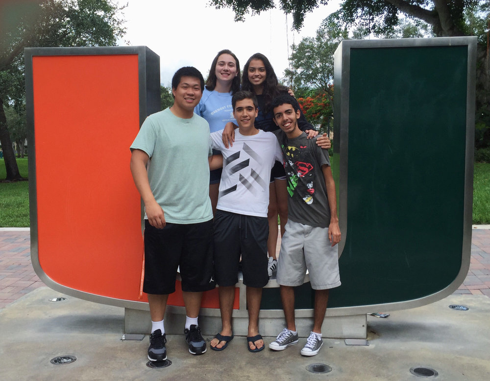 Aubrey Bryan at the University of Miami. She is in back, far right.