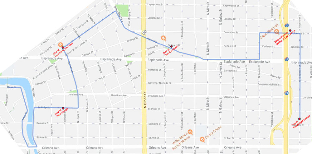 Our route (more or less) - come join us on Lundi Gras at 2pm - - - -