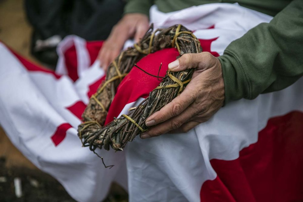 Mike Ranta visits the Tomb of the Unknown soldier to lay his hand made wreath, compiled from various sticks across canada, to honour Canadian veterans on Remembrance day Ceremonies in 
