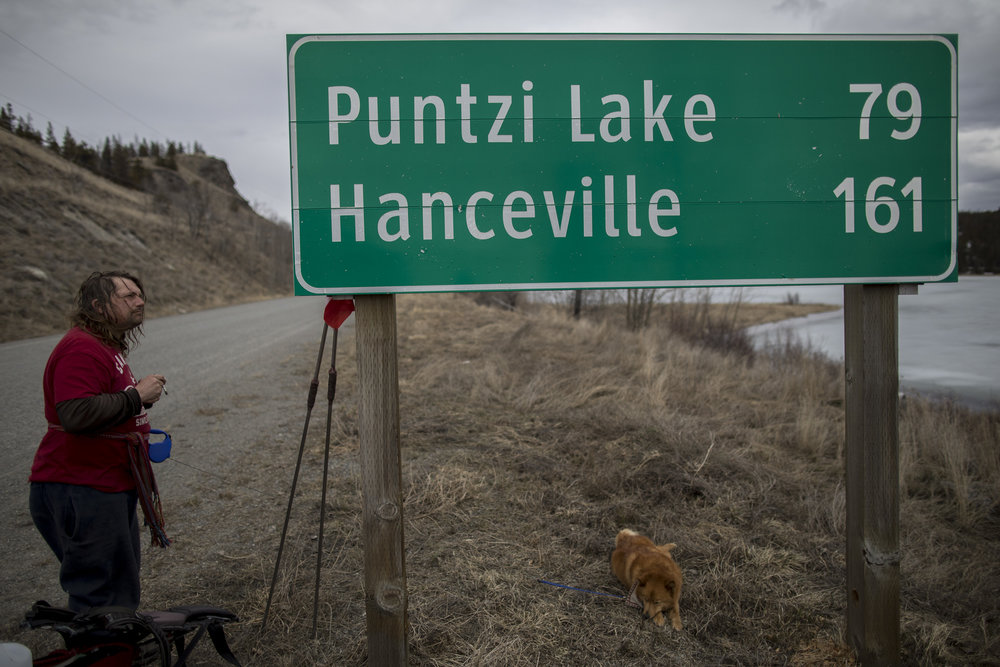 The biggest day of the trip, Mike Ranta and Spitzii left behind nearly 36km of road to get within 20km of Tatla Lake, British Columbia. 20170409.  Photo/David Jackson