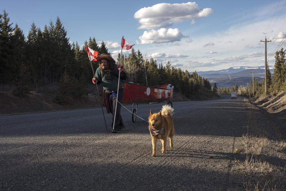 Passing through 100 Mile House, Ranta escapes the bustle of the Cariboo Highway for Highway 24. With 96 km's to Little Fort, Ranta has three days across a plateau of strange weather. At nightfall, Michelle brought beard and uncooked steak after guiding Ranta to an ideal camp site.. 20170421.  Photo/David Jackson
