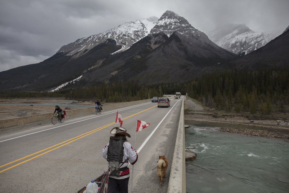 Mike Ranta leaves Beaver Mouth and portages to within 15km's of Golden, British Columbia.  20170516.  Photo/David Jackson