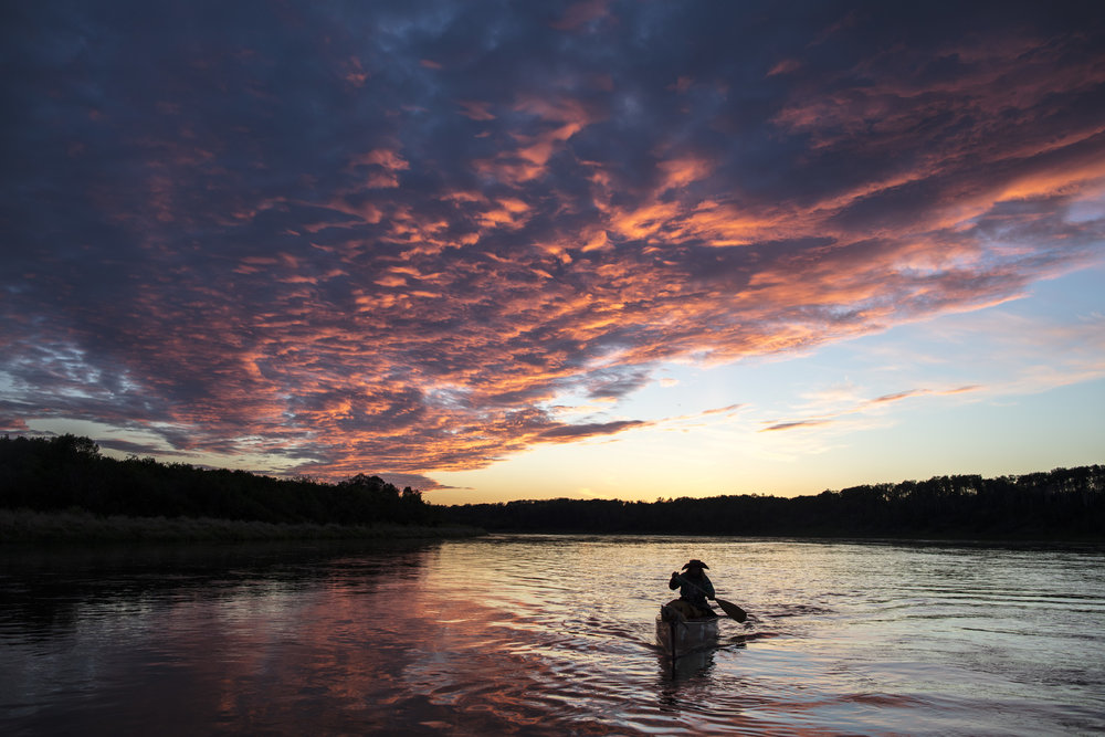 Mike Ranta paddles 24 straight hours while approaching the Saskatchewan River forks on a 160km continuous push. 20170612.  Photo/David Jackson