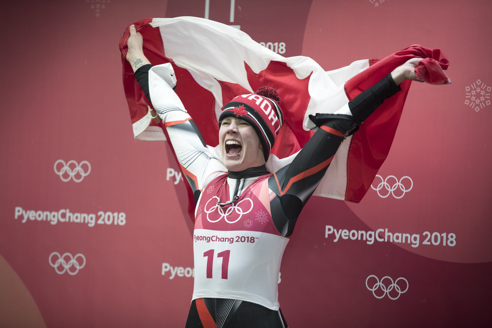 Team Canada's Alex Gough celebrates winning Bronze in Ladies Single Luge at the Alpensia Sliding Centre, in Pyeongchang, South Korea, Tuesday, February 12, 2018. The medal marked Team Canada's first even luge medal in history. Photo/David Jackson