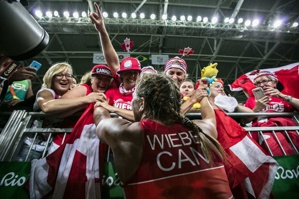 Team Canada's  Erica Elizabeth Wiebe wins gold in 75 kg women's wrestling at Carioca Stadium, Rio de Janeiro, Brazil, Thursday August 18, 2016.    COC Photo/David Jackson