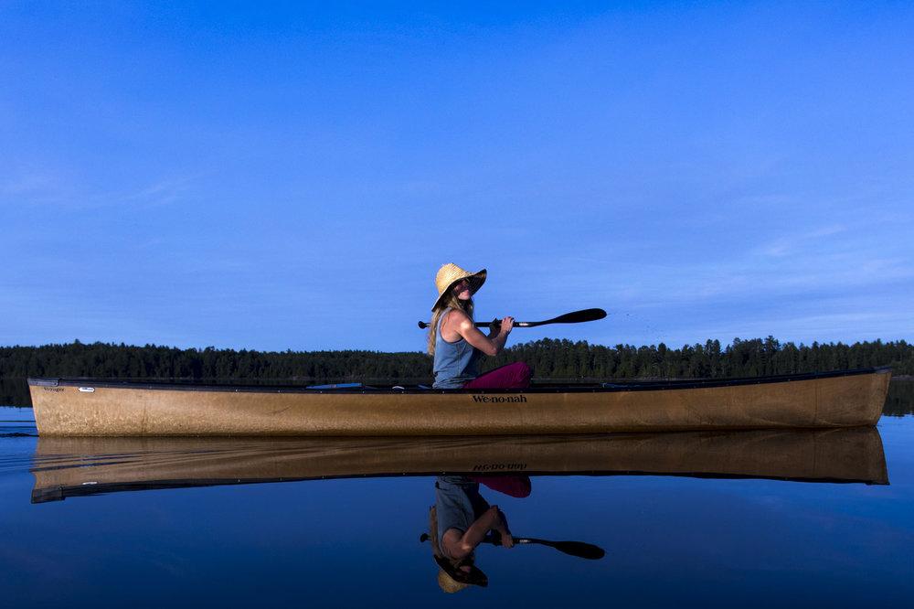Mike Ranta and Branny Hughes paddle from Macree Lake into Iron Lake before portaging around Curtain Falls into Crooked Lake in Quetico, Ontario. 20170829.  Photo/David Jackson