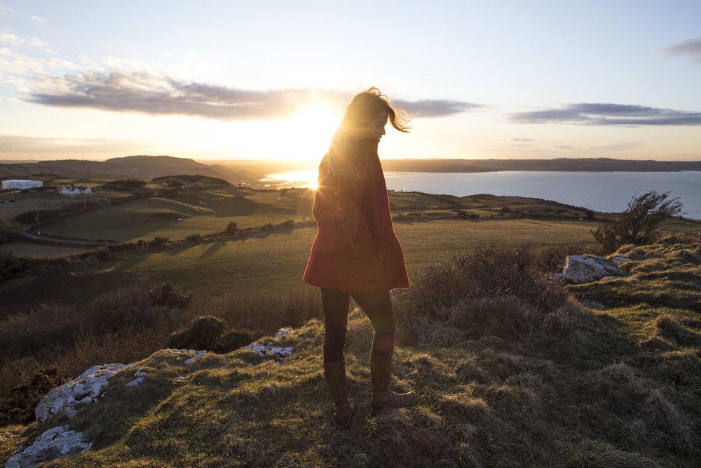 Branywen Hughes visits Arthurs Table for sunset and climbs a small mountain near Llanbaris, Wales, United Kingdom. Photo/ David Jackson