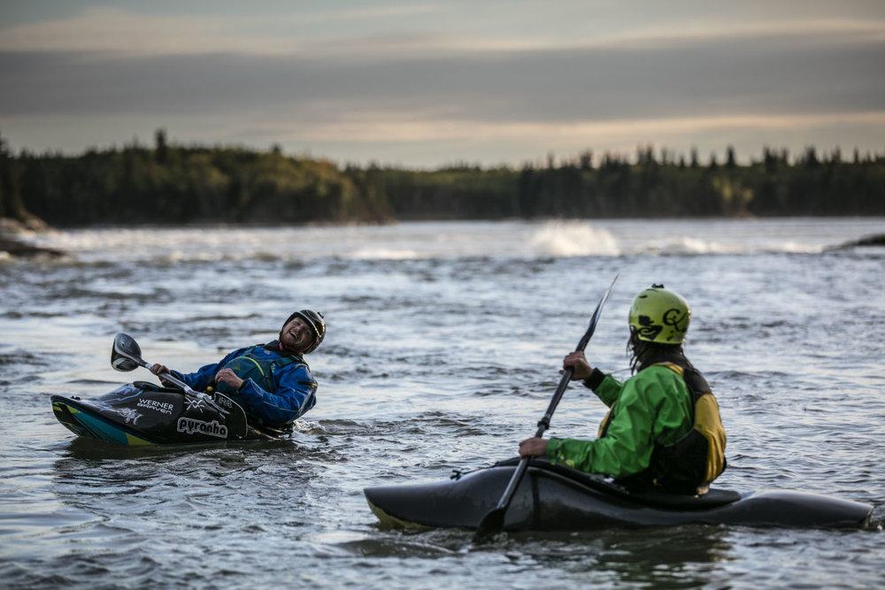 Ben Marr surfs Dream Wave at bladder falls during sunrise on the Nelson River , Manitoba.,Thursday September 15, 2016.    Photo/David Jackson