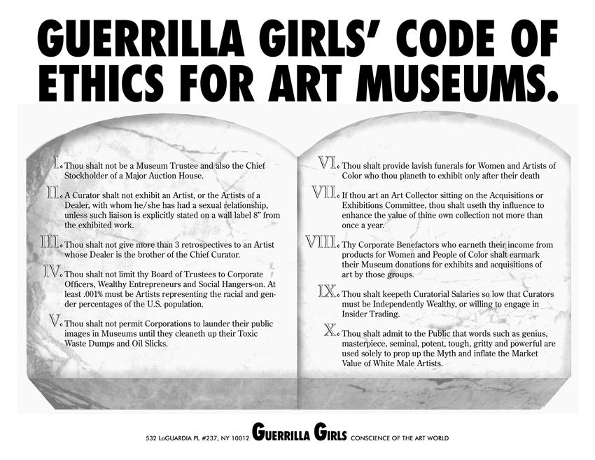 GUERRILLA GIRLS' CODE OF ETHICS FOR ART MUSEUMS.