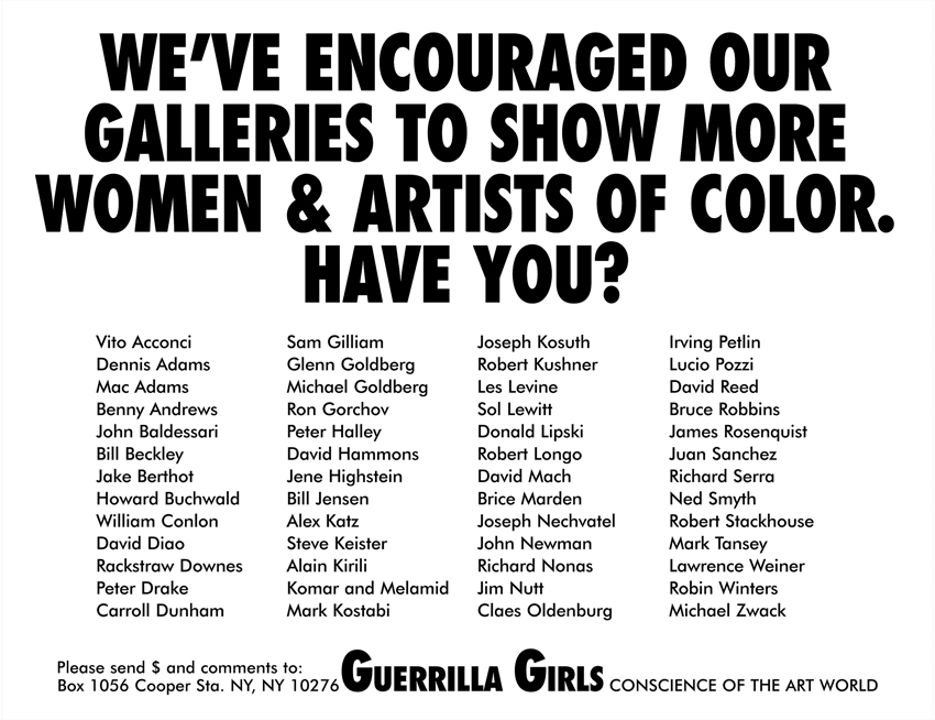 WE'VE ENCOURAGED OUR GALLERIES TO SHOW MORE WOMEN & ARTISTS OF COLOR. HAVE YOU?