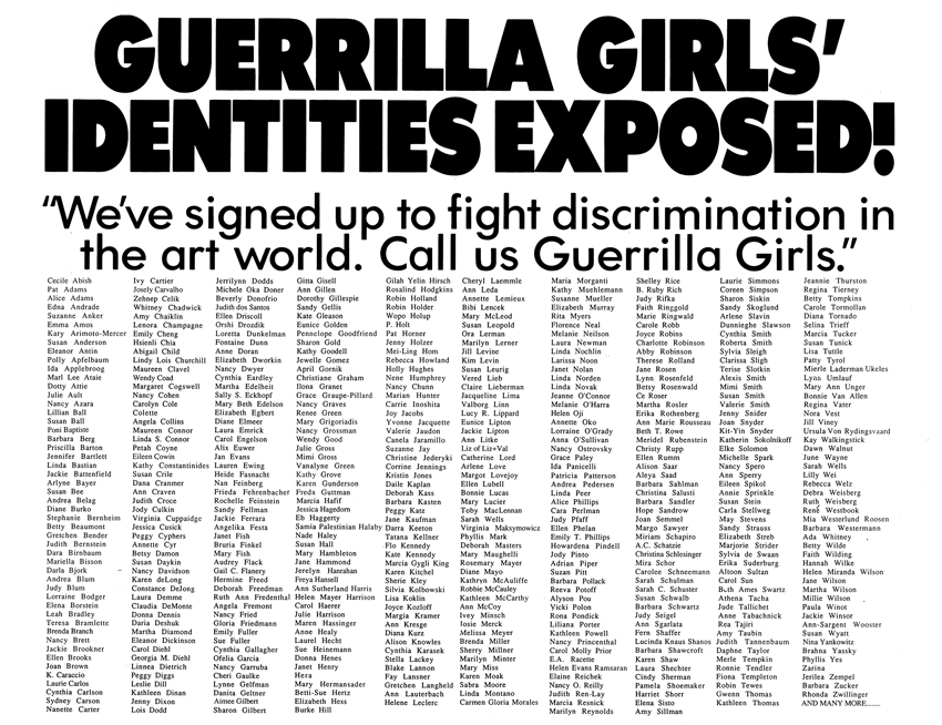 GUERRILLA GIRLS' IDENTITIES EXPOSED!