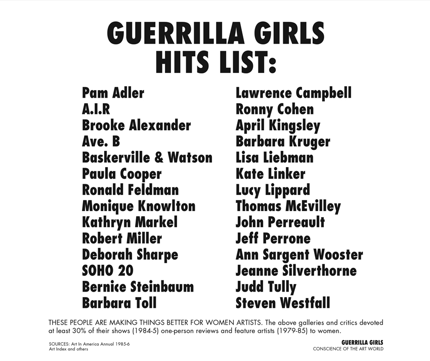 GUERRILLA GIRLS HITS LIST