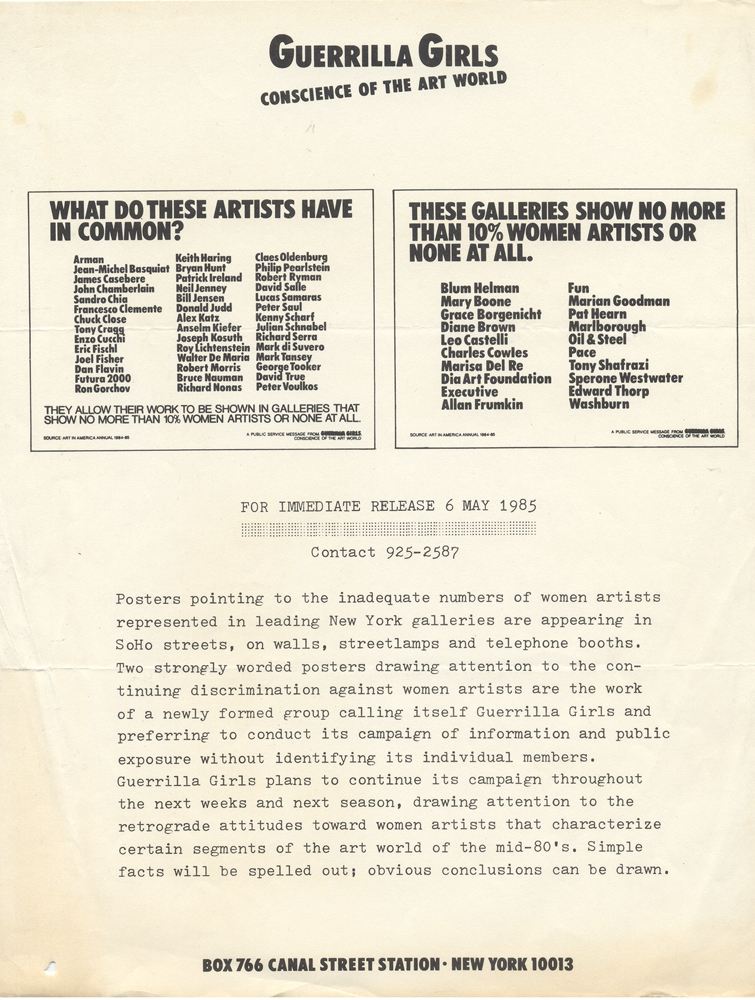 GUERRILLA GIRLS' FIRST PRESS RELEASE, MAY 6, 1985