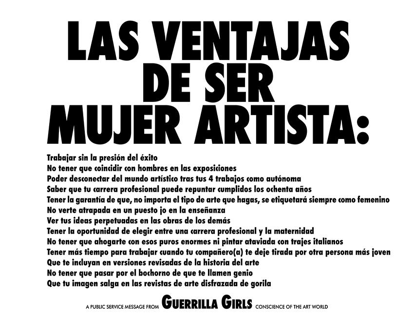 LAS VENTAJAS DE SER MUJER ARTISTA