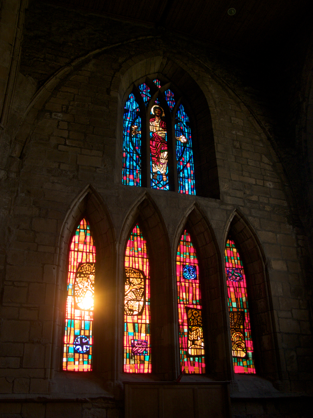 Stained glass windows at Pluscarden Abbey