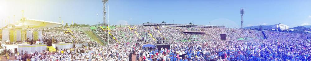 """The common celebration of Divine Worship"" - celebration with the Pope at Staduim Koševo, Sarajevo in 2015. (Image by Ninac26)"