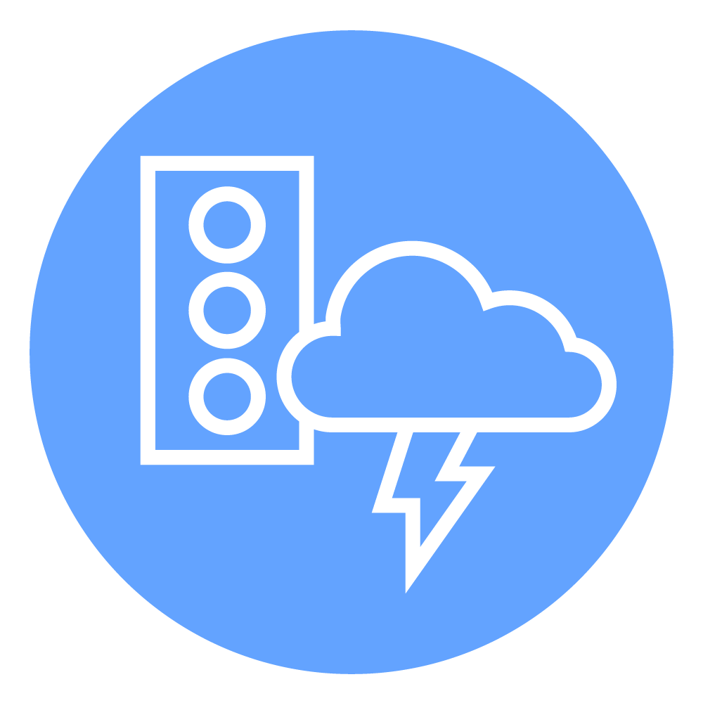 Graphic of a cloud and a traffic light which represent weather and traffic, factors that affect driver routes