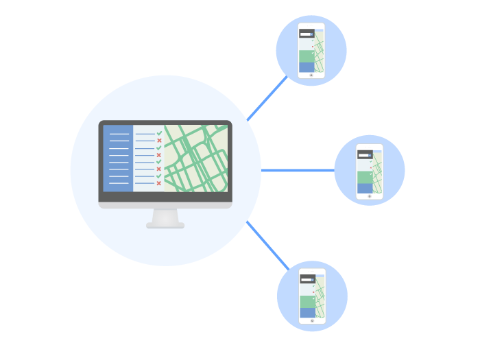 Graphic representing Wise Systems software route scheduling (The image shows a desktop with Wise Systems software connected to mobile devices.)