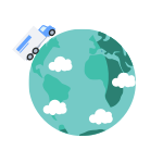 Dynamic optimization icon shows a truck and planet Earth with a few clouds