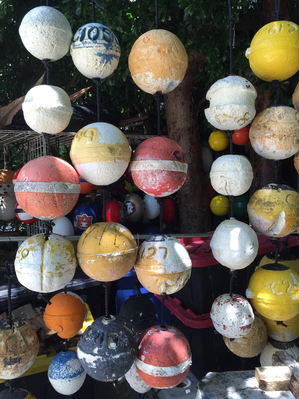 Fishing buoys and lobster trap art can be found everywhere in the Florida Keys.
