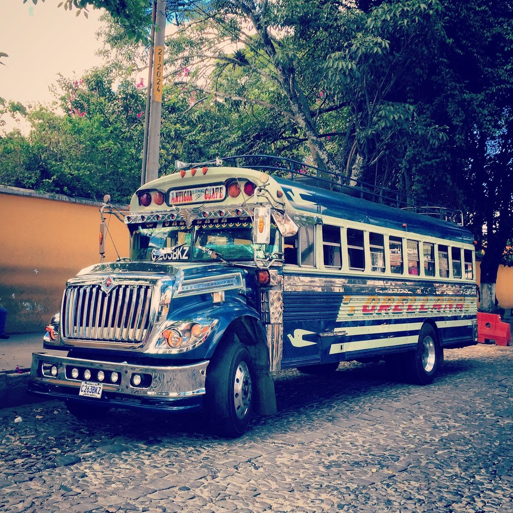 Chicken buses are everywhere in Guatemala, they are actually the main mode of transportation. I love how bad-ass some of them look, like the by product of a one night stand between a semi and a school bus.