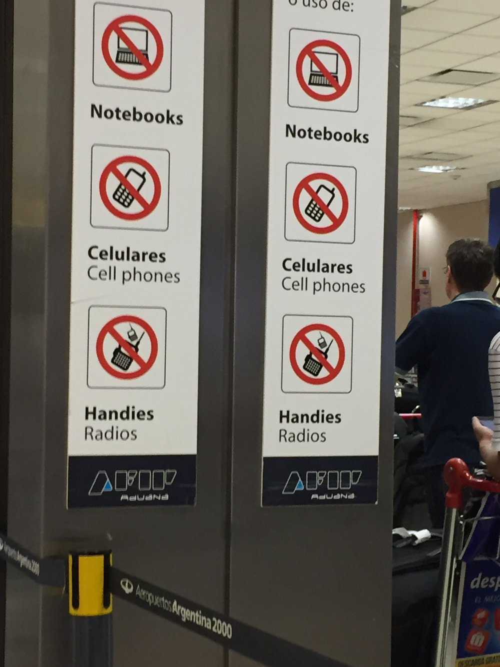 """I don't know why I find the term """"Handies"""" funny, but I do. Which is why I took this photo while waiting in line for Passport Control in BA."""