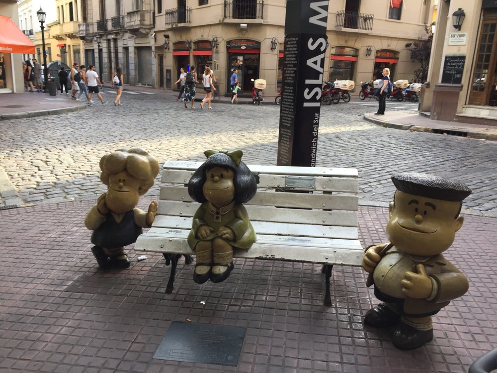 Mafalda is the most famous cartoon character in Argentina. She's 6 years old and through her lens, she reflects on the politics of the middle class and youth empowerment in Argentina.