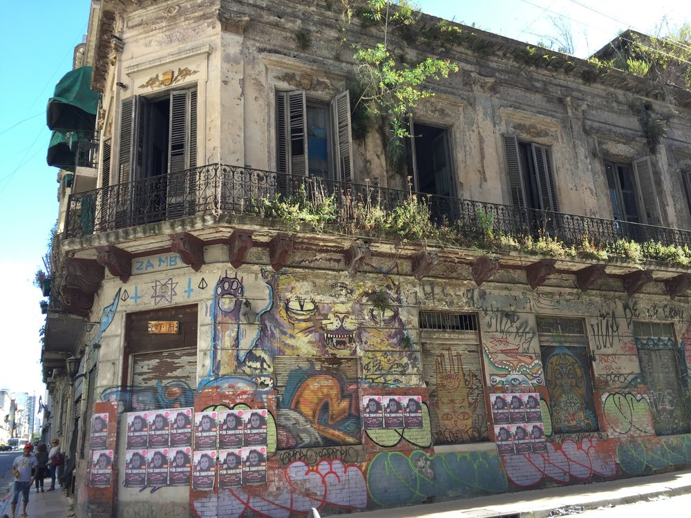 Even covered in graffiti, I love the bones of this old building so much.