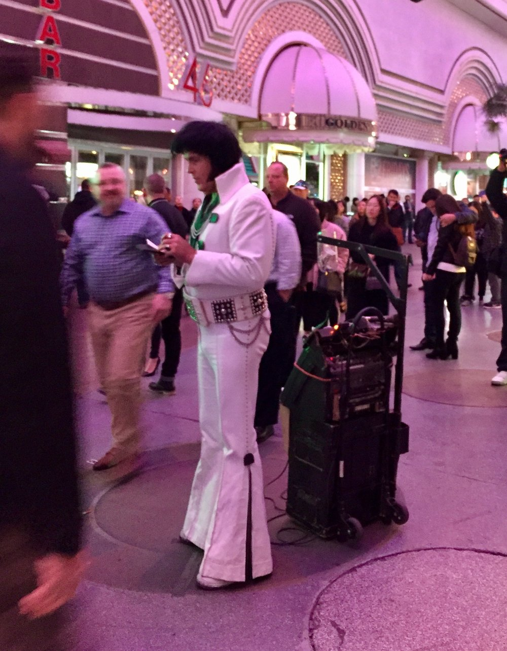 Elvis is everywhere in Vegas, especially at the Fremont experience, where I found three of them.