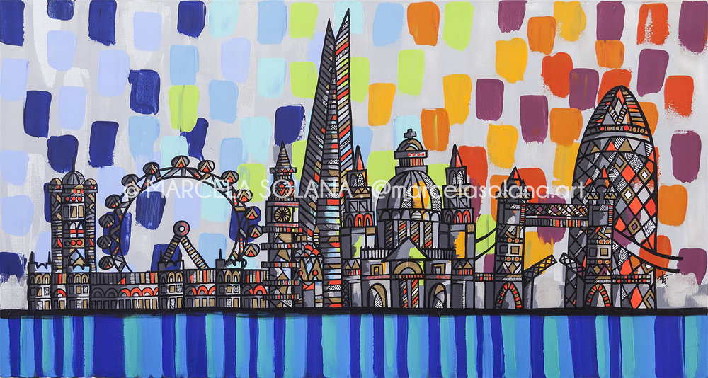 LONDON SKYLINE . 2018 . 80x150cm / 31x59in