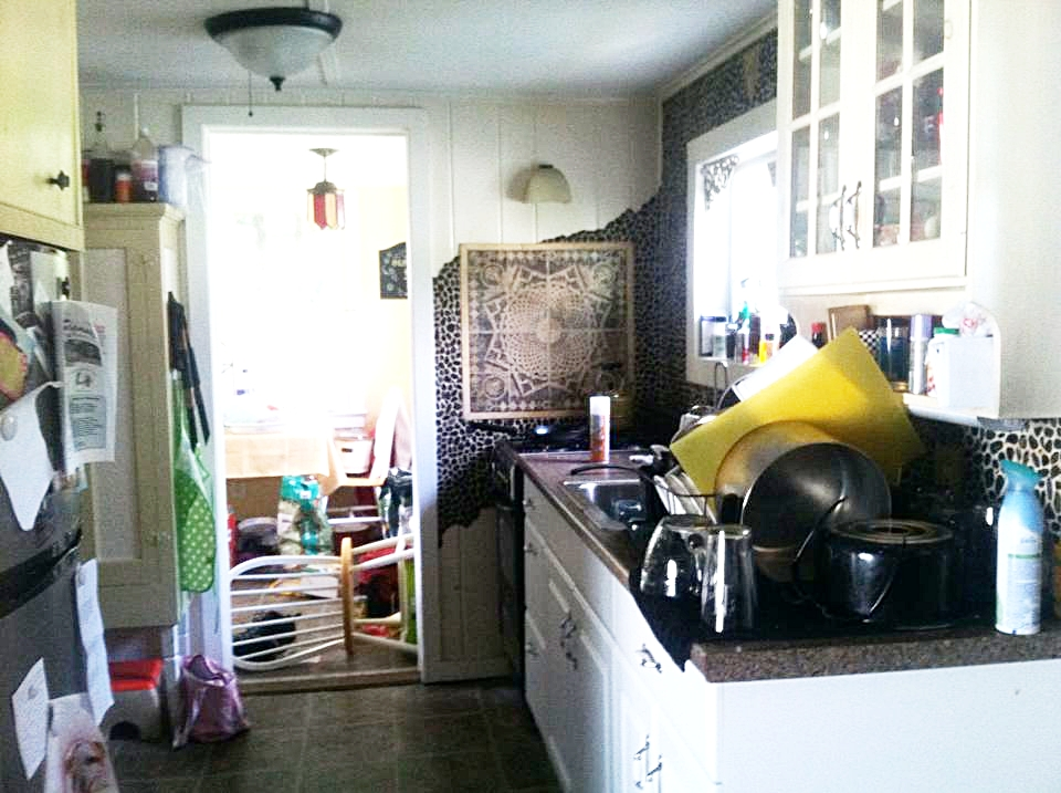 My old kitchen and the pile of dishes I loathed.