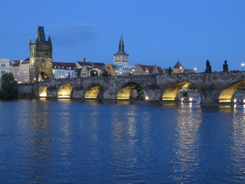the charles bridge over the vlatava river, prague