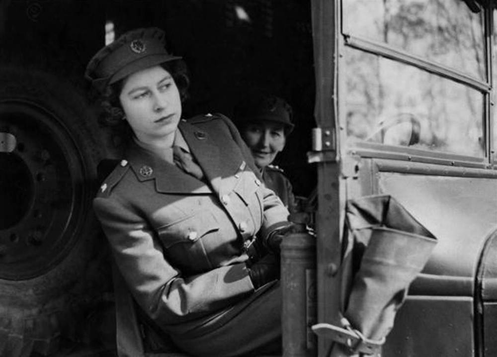 Then-Princess Elizabeth driving an ambulance during her wartime service in the Auxiliary Territorial Service in 1945.
