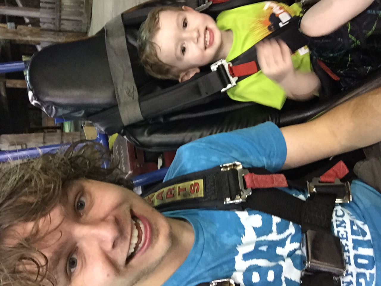 Aiden was my go-kart buddy! We're wet because we just finished playing bumper boats (Aiden's favorite).