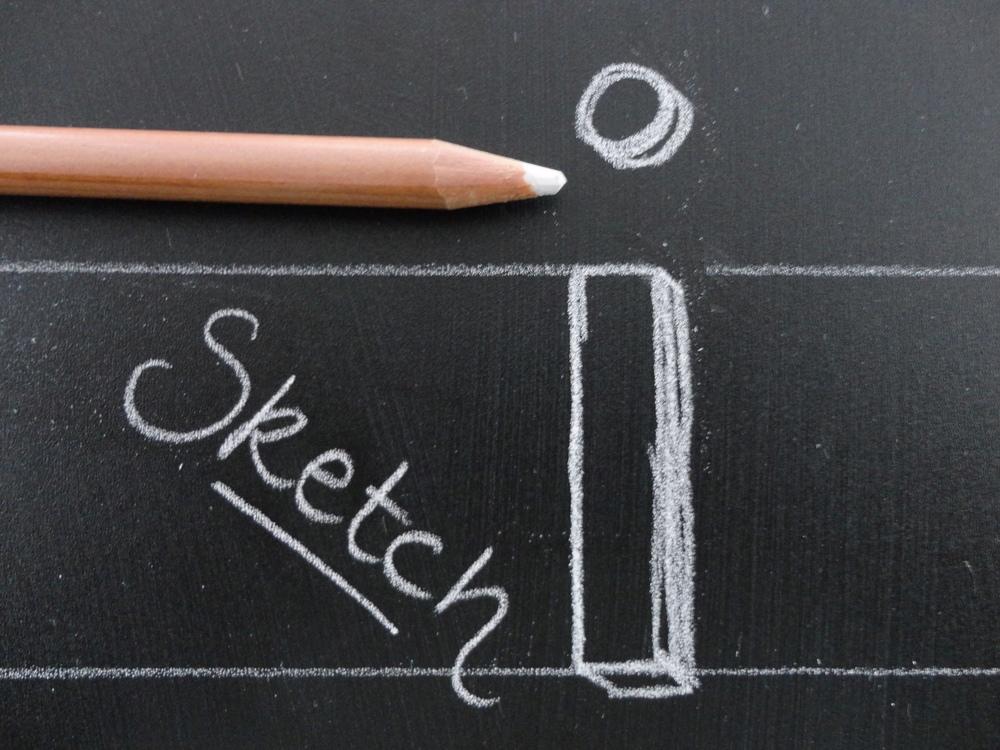 "Chalk sketch of lowercase, ""I."""