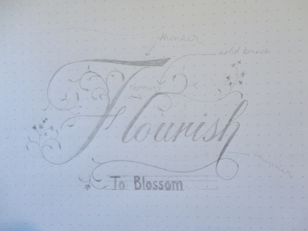 "Semi-refined sketch of hand lettering, ""flourish, to blossom"""