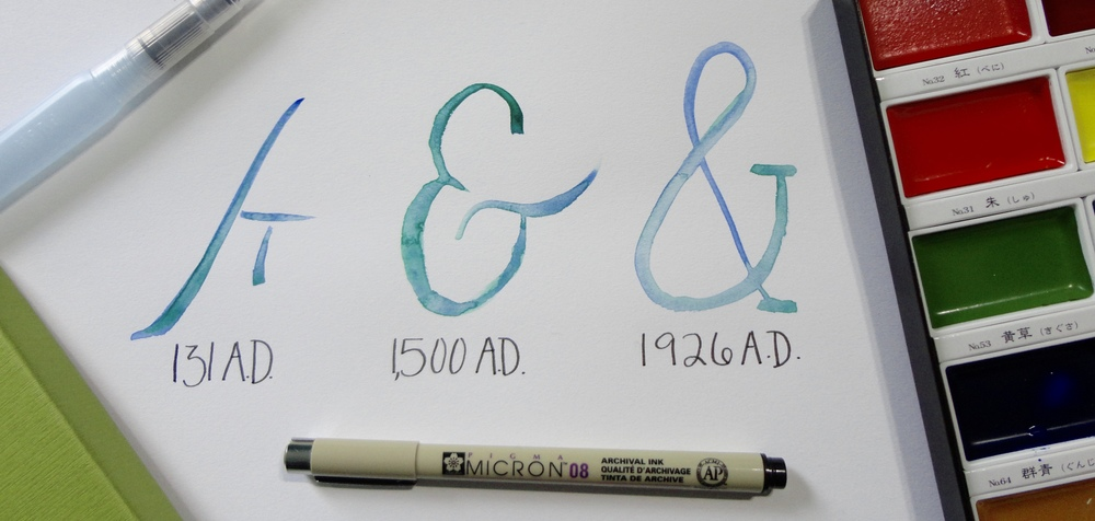 Watercolor Ampersand Timeline, Shown with Tools