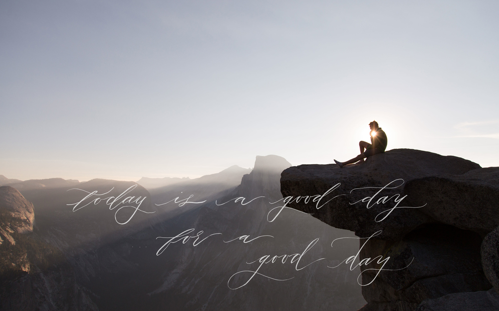 Brush Calligraphy Quote, with Landscape Photo. Free Wallpaper.